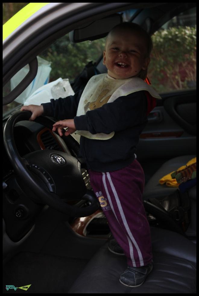 Во время остановок Бандит лазает по машине.